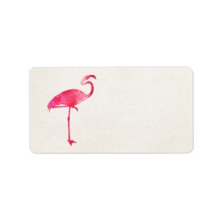 Rosa Florida för FlamingovattenfärgSilhouette Adressetikett