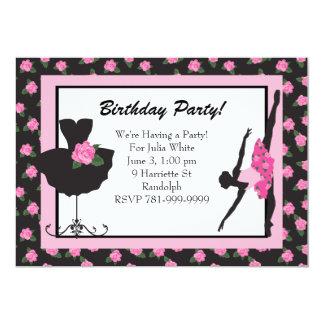 Rosa födelsedagsfest inbjudan för KRW-flickabalett