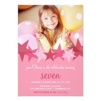 Rosa födelsedagsfest inbjudan för stjärnaungefoto 12,7 x 17,8 cm inbjudningskort