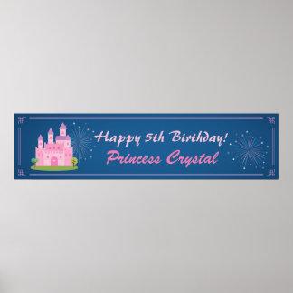 Rosa födelsedagsfestbaner för Princess Rockera Affischer