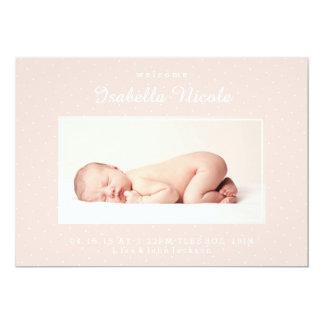 Rosa födelsemeddelande för kastby 12,7 x 17,8 cm inbjudningskort