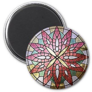 Rosa fönster - röd rundamagnet magnet