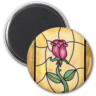 Rosa fönstermagnet magnet rund 5.7 cm