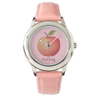 Rosa för fruktromantiker för dam Apple enkel chic Armbandsur
