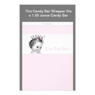Rosa för godispub för Princess baby shower omslag Reklamblad 14 X 21,5 Cm