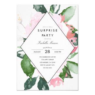 Rosa för överrrakningparty för blommigt | inbjudan
