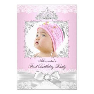 rosa- & för silverPrincess Flicka Första 8,9 X 12,7 Cm Inbjudningskort
