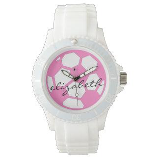 Rosa fotbollboll och namn armbandsur