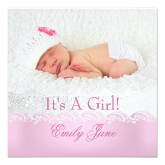 Rosa foto för nyfödd bebisflickameddelande fyrkantigt 13,3 cm inbjudningskort