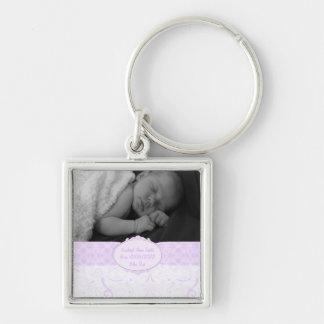 Rosa foto för Swirly snörebaby Fyrkantig Silverfärgad Nyckelring