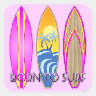 Rosa fött som surfar fyrkantigt klistermärke