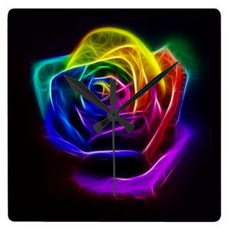 Rosa Fractal för regnbåge Fyrkantig Klocka