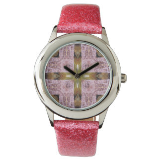 Rosa frimärken armbandsur