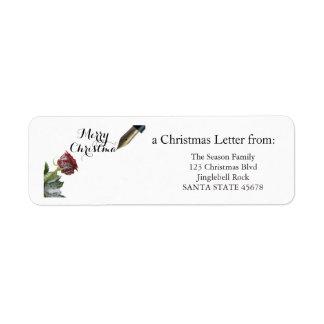 Rosa god jul för snö returadress etikett