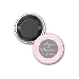 Rosa grå färgdamast för spara datum magneter