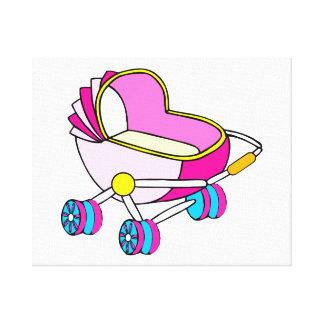 Rosa grafisk temabarnvagn sträckta kanvas tryck