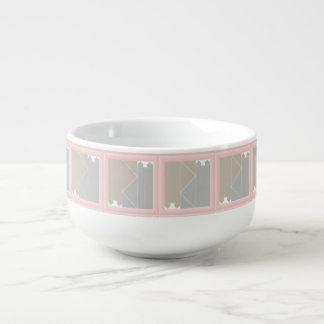 Rosa grått för kvartkatttäcke och kaffekatter stor kopp för soppa