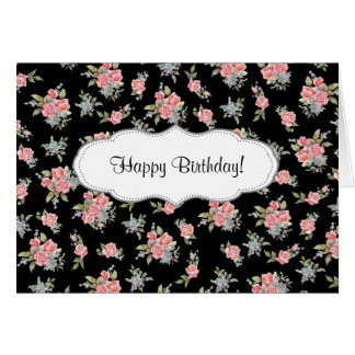 Rosa grattis på födelsedagen för svart och rosa hälsningskort