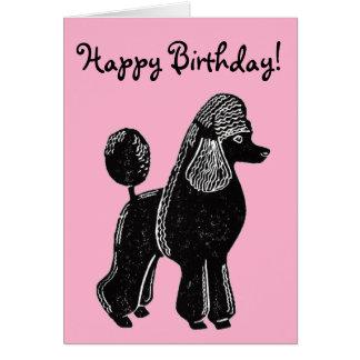 Rosa grattis på födelsedagenkort för svart hälsningskort