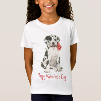Rosa great dane för valentin tee shirts