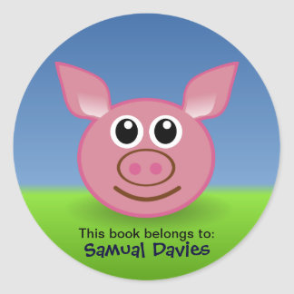 Rosa gris personifierade namnetiketter runt klistermärke