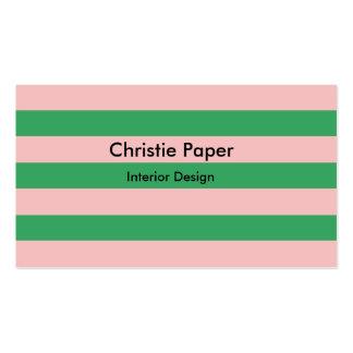 Rosa- & gröntvågrät görade randig   Any Set Av Standard Visitkort