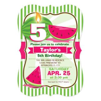 Rosa- & gröntvattenmelon, barnfödelsedagsfest individuella inbjudningskort