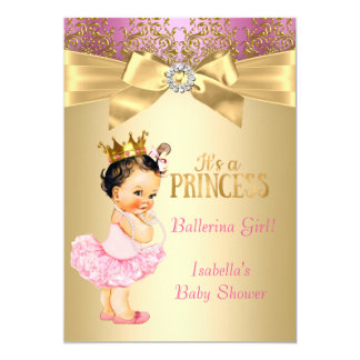 Rosa guld- Ballerinabrunett för Princess baby 12,7 X 17,8 Cm Inbjudningskort