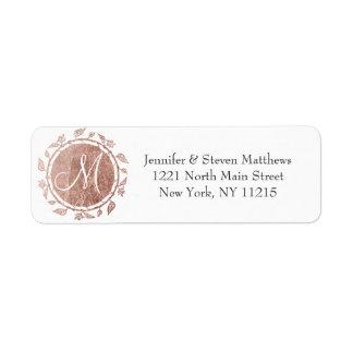 Rosa guld- blom- Monograminitialer och Returadress Etikett
