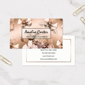 Rosa guld- blom- visitkortar för elegant visitkort