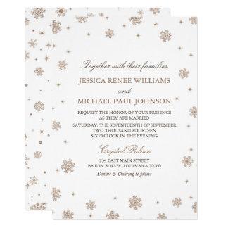 Rosa guld- bröllop för glittervinterunderland 12,7 x 17,8 cm inbjudningskort