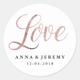 Rosa guld- bröllopklistermärke för kärlek runt klistermärke