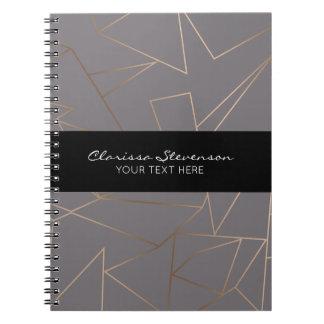Rosa guld- elegantt modernt minimalist geometriskt anteckningsbok