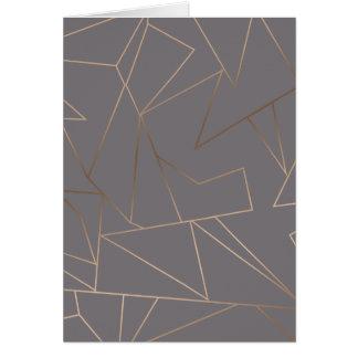 Rosa guld- elegantt modernt minimalist geometriskt hälsningskort