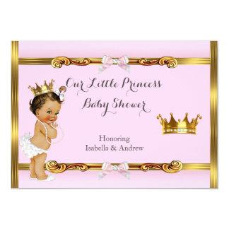 Rosa guld- flickabrunett för Princess baby shower 12,7 X 17,8 Cm Inbjudningskort