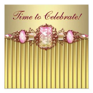 Rosa guld- födelsedagsfest för juvlar fyrkantigt 13,3 cm inbjudningskort