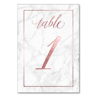 Rosa guld för PixDezines Faux/bord ingen 1+/Marble Bordsnummer