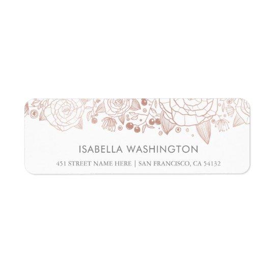 Rosa guld- & för vit | chicblommor returadress etikett