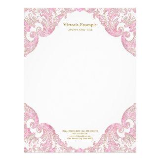 Rosa guld- glitter virvlar runt elegantt rosa guld brevhuvud