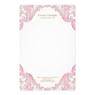 Rosa guld- glitter virvlar runt elegantt rosa guld brevpapper