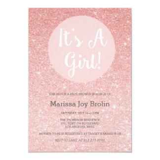 Rosa guld- glitterbaby showerinbjudan 12,7 x 17,8 cm inbjudningskort