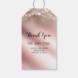 Rosa guld- glitterelegant bröllop presentetikett