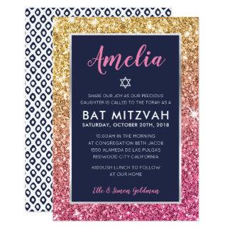 Rosa guld- glitterinbjudan för BAT MITZVAH kall 12,7 X 17,8 Cm Inbjudningskort