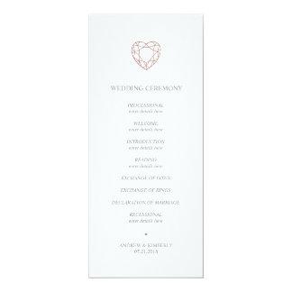 Rosa guld- hjärtabröllopsprogram för elegant 10,2 x 23,5 cm inbjudningskort