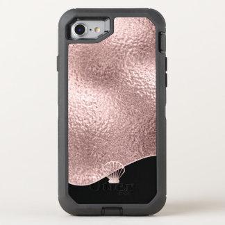 Rosa guld ID363 för Glass snäckskal OtterBox Defender iPhone 7 Skal