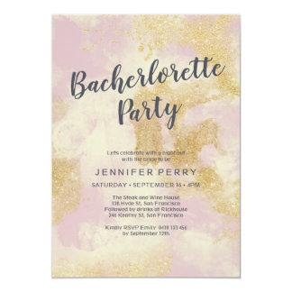 Rosa guld- inbjudan för glitterBachelorette party
