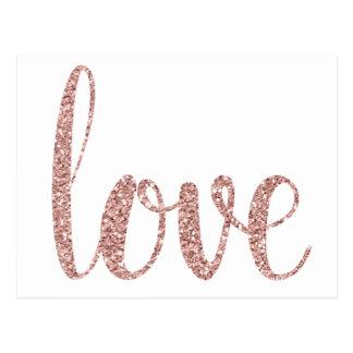 Rosa guld- kärlekvykort, glitter vykort