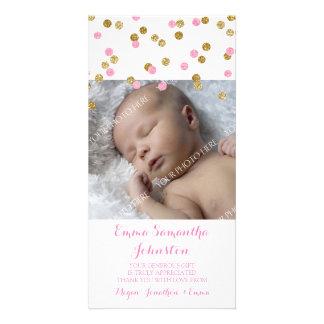 Rosa guld- kort för tackbaby showerfoto fotokort