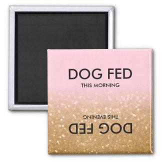 Rosa guld- magnet för påminnelse för hund för