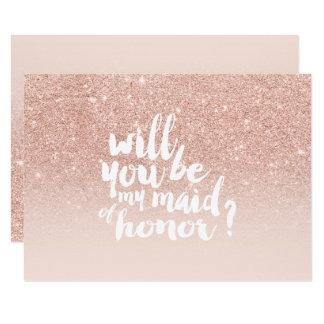 Rosa guld- maid of honor för chic för 8,9 x 12,7 cm inbjudningskort